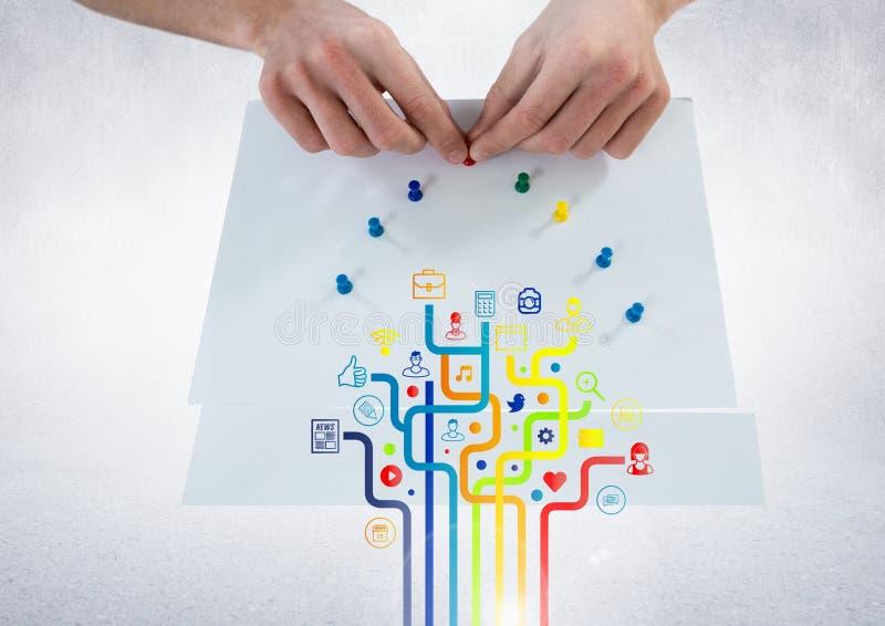 Ψηφιακά παραγμένη εικόνα του εικονιδίου και των χεριών εφαρμογής που κολλούν την καρφίτσα σε χαρτί στοκ εικόνες με δικαίωμα ελεύθερης χρήσης