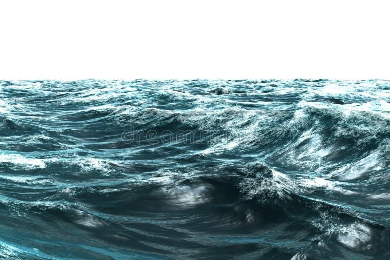 Ψηφιακά παραγμένη θυελλώδης μπλε θάλασσα διανυσματική απεικόνιση