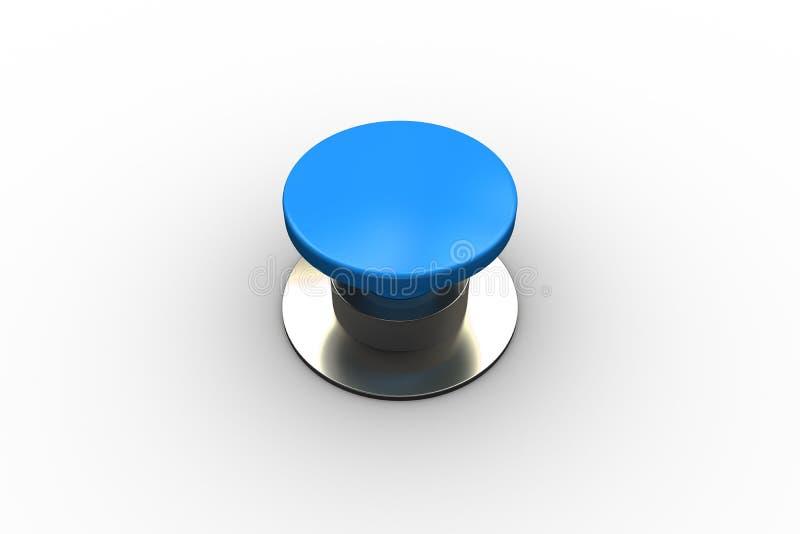 Ψηφιακά παραγμένο λαμπρό μπλε κουμπί ώθησης διανυσματική απεικόνιση