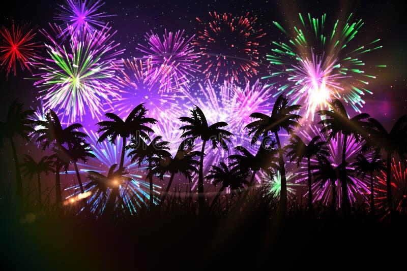 Ψηφιακά παραγμένο υπόβαθρο φοινίκων με τα πυροτεχνήματα διανυσματική απεικόνιση
