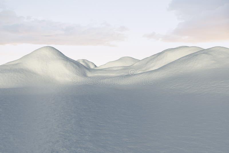 Ψηφιακά παραγμένο χιονώδες έδαφος scape απεικόνιση αποθεμάτων