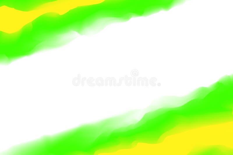 Ψηφιακά πράσινα κίτρινα χρώματα ζωγραφικής μαλακά στην τέχνη υδατοχρώματος έννοιας, αφηρημένα μαλακά χρώματα κρητιδογραφιών πλαισ απεικόνιση αποθεμάτων