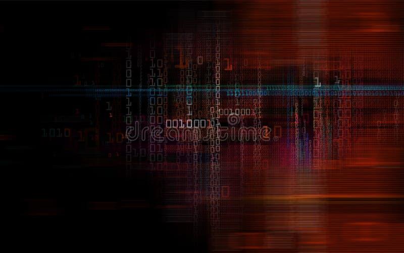 Ψηφιακά δυαδικά στοιχεία και ηλεκτρονικός πίνακας κυκλωμάτων διανυσματική απεικόνιση