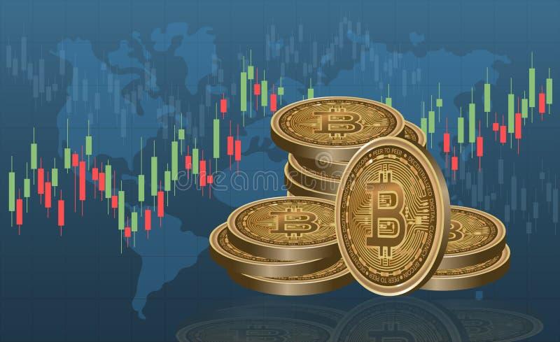 Ψηφιακά χρήματα Bitcoin, σύστημα cryptocurrency διάνυσμα ελεύθερη απεικόνιση δικαιώματος