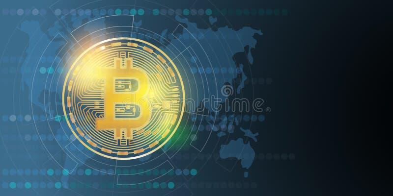 Ψηφιακά χρήματα Bitcoin, σύστημα cryptocurrency διάνυσμα διανυσματική απεικόνιση