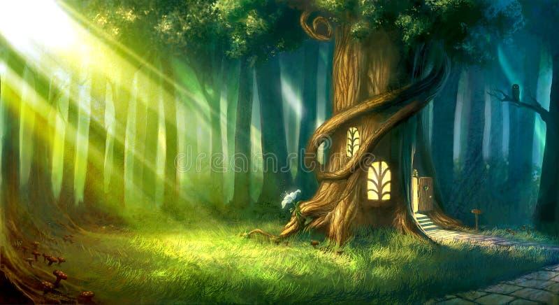 Ψηφιακά χρωματισμένο μαγικό δάσος με το χαριτωμένο σπίτι δέντρων παραμυθιού απεικόνιση αποθεμάτων