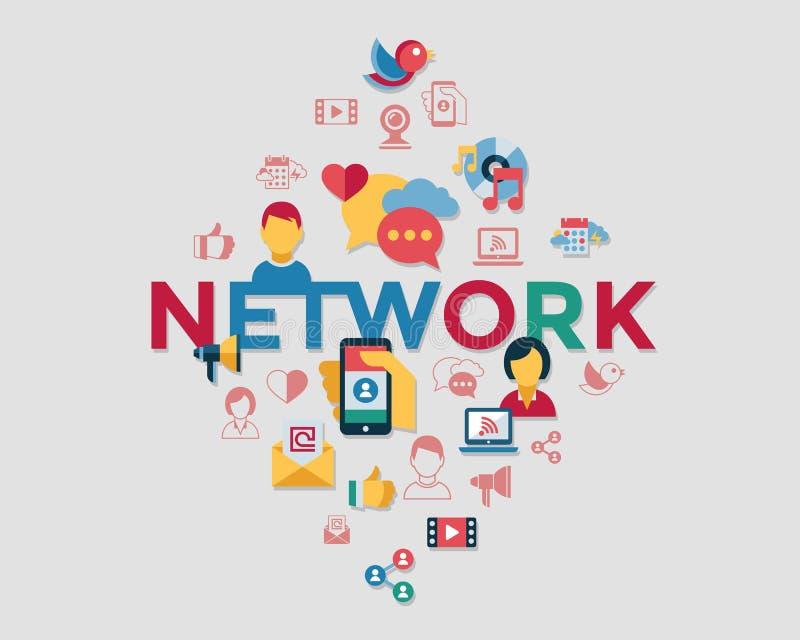 Ψηφιακές διανυσματικές κοινωνικές μέσα και επικοινωνία διανυσματική απεικόνιση