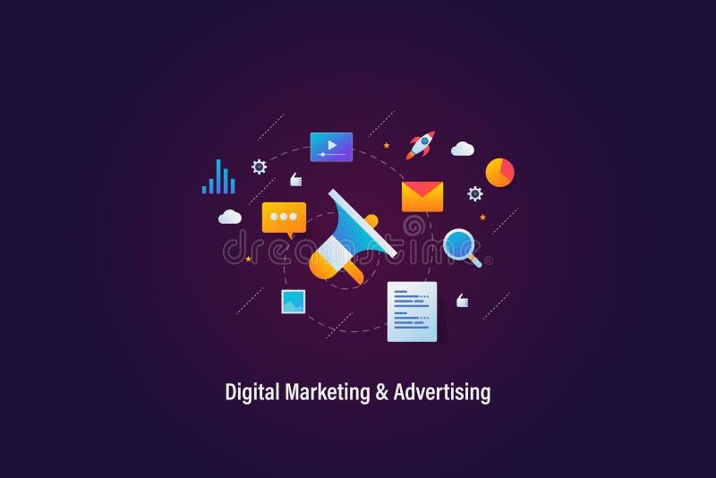 Ψηφιακές μάρκετινγκ, on-line διαφήμιση, έννοια προώθησης Ιστού, έμβλημα Ιστού με τα εικονίδια και τα στοιχεία ελεύθερη απεικόνιση δικαιώματος
