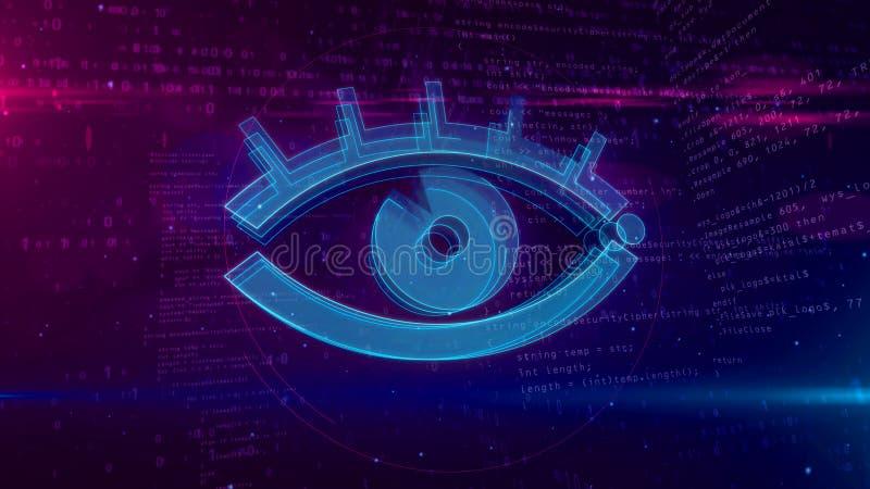 Ψηφιακή έννοια επιτήρησης Cyber με την τρισδιάστατη απεικόνιση ματιών κατασκόπων διανυσματική απεικόνιση