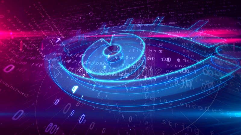 Ψηφιακή έννοια επιτήρησης Cyber με το μάτι κατασκόπων απεικόνιση αποθεμάτων