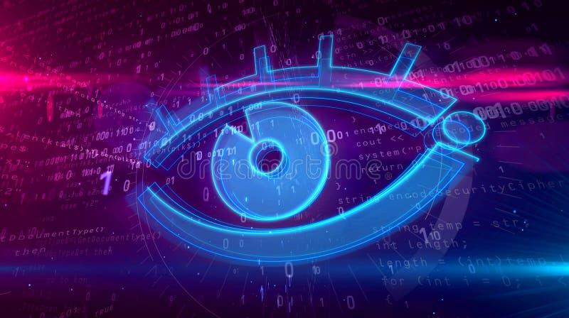 Ψηφιακή έννοια επιτήρησης Cyber με το μάτι κατασκόπων διανυσματική απεικόνιση