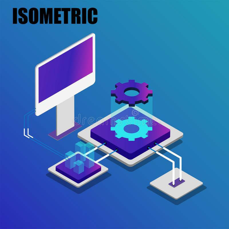 Ψηφιακή έννοια επιχειρησιακής ανάλυσης ή τεχνολογίας διανυσματική απεικόνιση