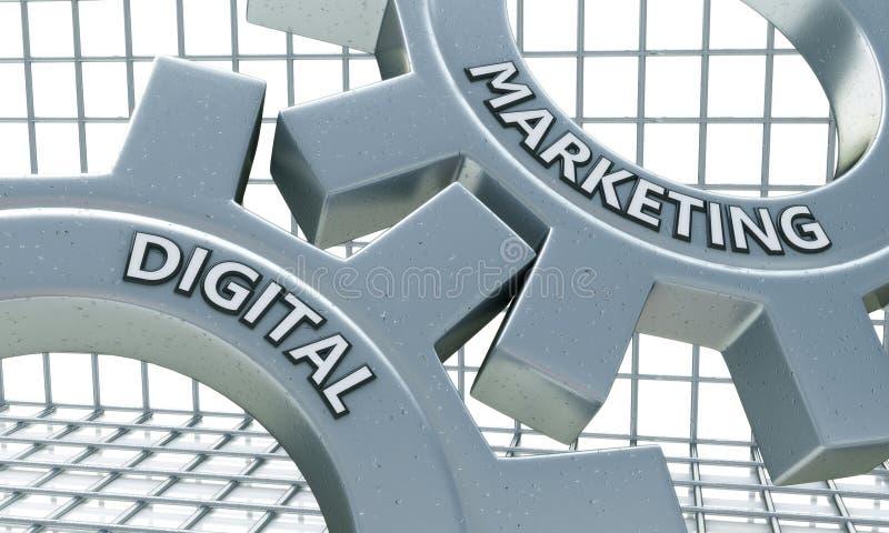 Ψηφιακή έννοια μάρκετινγκ στο μηχανισμό Cogwheels μετάλλων διανυσματική απεικόνιση