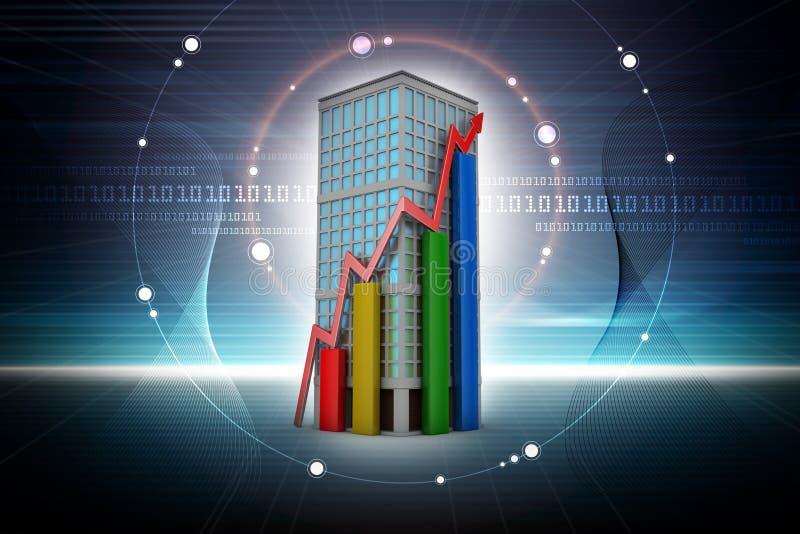 Ψηφιακή απεικόνιση της έννοιας αύξησης ακίνητων περιουσιών απεικόνιση αποθεμάτων