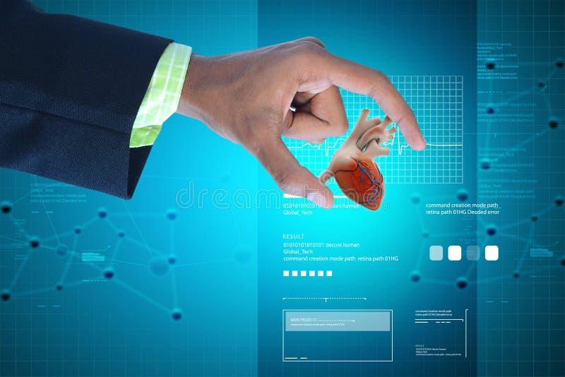 Ψηφιακή απεικόνιση του έξυπνου χεριού που παρουσιάζει ανθρώπινη καρδιά στοκ εικόνα με δικαίωμα ελεύθερης χρήσης
