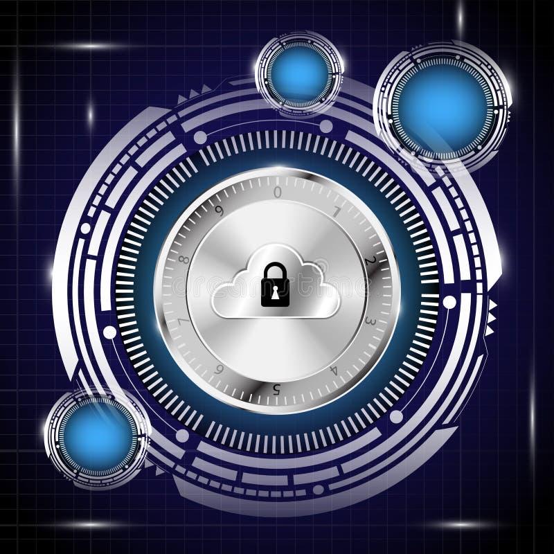 Ψηφιακή βάση δεδομένων στο υπόβαθρο έννοιας ασφάλειας διανυσματική απεικόνιση
