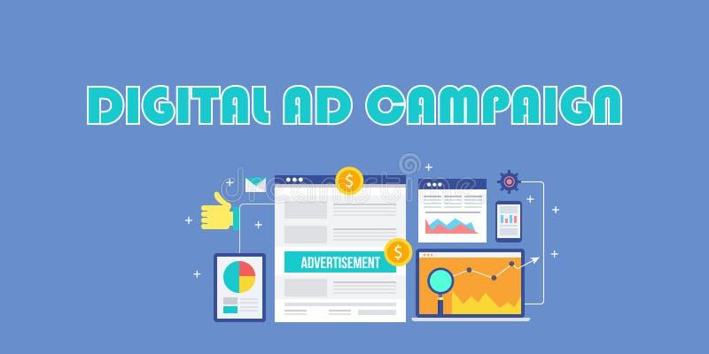 Ψηφιακή διαφημιστική καμπάνια, διαφήμιση Διαδικτύου, κοινωνικές αγγελίες μέσων, κινητό μάρκετινγκ, έννοια διαφημίσεων αναζήτησης απεικόνιση αποθεμάτων