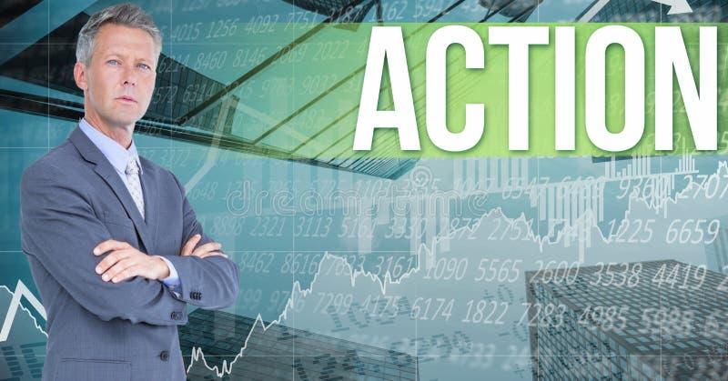 Ψηφιακή εικόνα του επιχειρηματία που υπερασπίζεται το κείμενο δράσης ενάντια στις γραφικές παραστάσεις και τους αριθμούς διανυσματική απεικόνιση