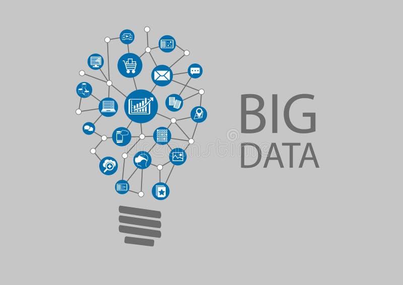 Ψηφιακή επανάσταση για τα μεγάλα στοιχεία και το προφητικό analytics διανυσματική απεικόνιση
