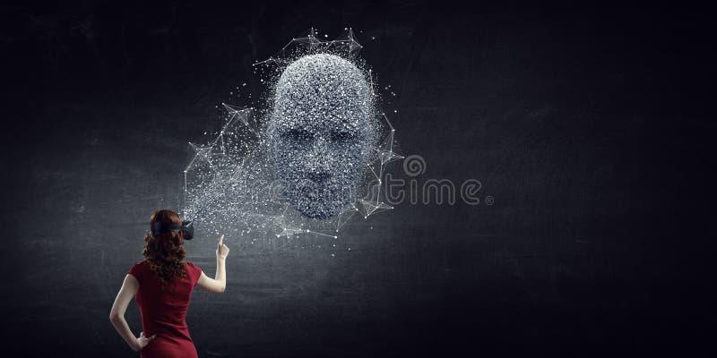 Ψηφιακή επικεφαλής, τεχνητή νοημοσύνη και εικονική πραγματικότητα r στοκ εικόνα