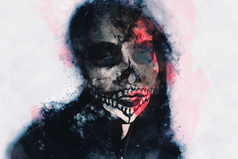 Ψηφιακή ζωγραφιά αρσενικού ζόμπι, άνδρας με αιματοβαμμένη εικόνα, απόκ διανυσματική απεικόνιση