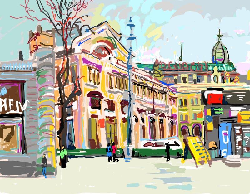 Ψηφιακή ζωγραφική αέρα Plein της εικονικής παράστασης πόλης - Κίεβο Ουκρανία, contempo διανυσματική απεικόνιση