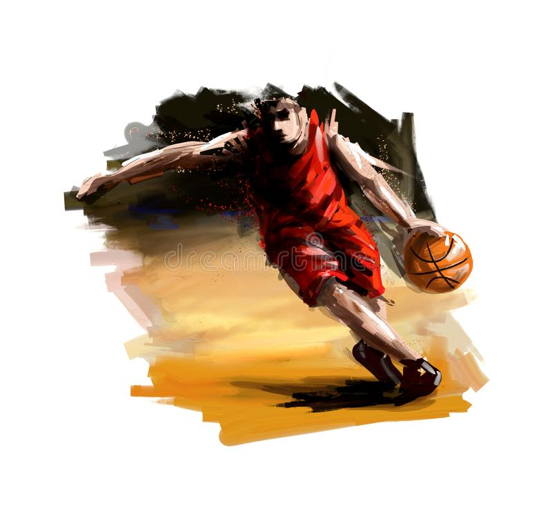 Ψηφιακή ζωγραφική ενός παίχτης μπάσκετ ελεύθερη απεικόνιση δικαιώματος