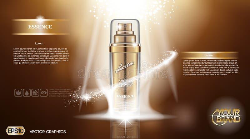 Ψηφιακή διανυσματική χρυσή ουσία ψεκασμού μπουκαλιών γυαλιού διανυσματική απεικόνιση
