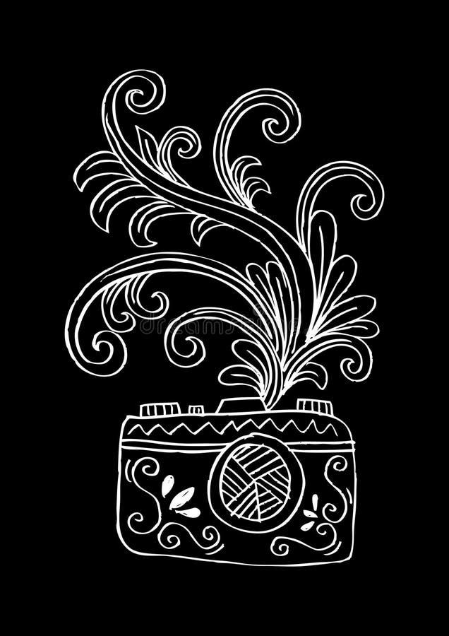 Ψηφιακή κάμερα φωτογραφιών με το floral σχέδιο διανυσματική απεικόνιση
