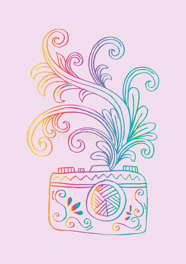 Ψηφιακή κάμερα φωτογραφιών με το floral σχέδιο απεικόνιση αποθεμάτων