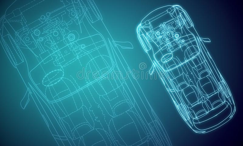 Ψηφιακή κόκκινη σύσταση σχεδίου αυτοκινήτων διανυσματική απεικόνιση