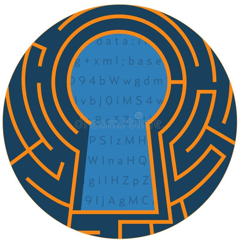 Ψηφιακή κλειδαρότρυπα Αφηρημένο εικονίδιο κλειδαριών κρυπτογράφησης στοιχείων διανυσματική απεικόνιση
