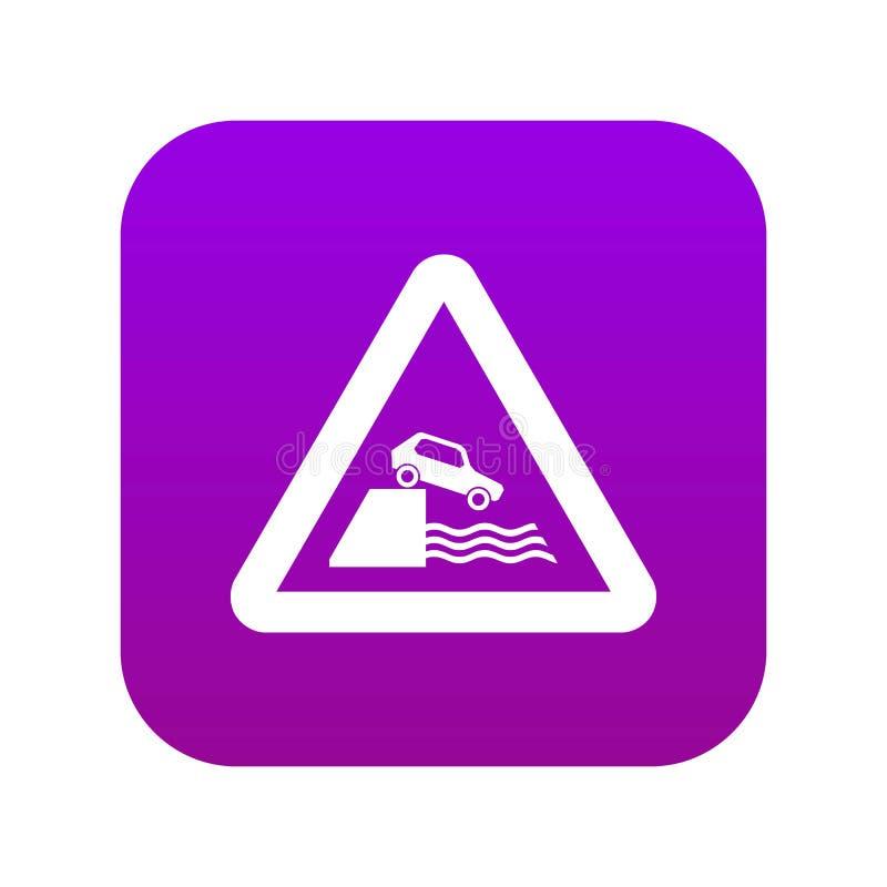 Ψηφιακή πορφύρα εικονιδίων σημαδιών κυκλοφορίας Riverbank ελεύθερη απεικόνιση δικαιώματος