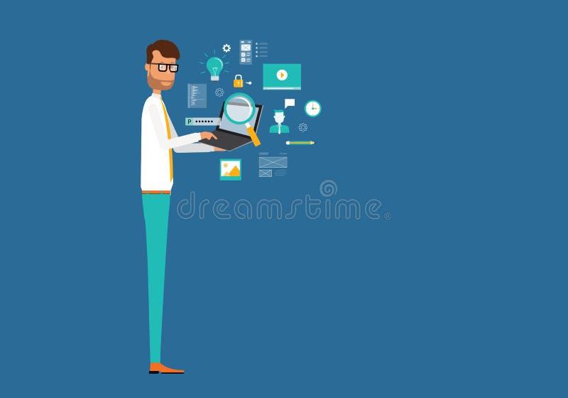 ψηφιακή σε απευθείας σύνδεση έννοια μάρκετινγκ διανυσματική απεικόνιση