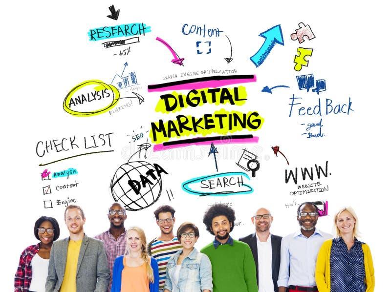 Ψηφιακή στρατηγική μαρκαρίσματος μάρκετινγκ σε απευθείας σύνδεση έννοια μέσων στοκ εικόνα με δικαίωμα ελεύθερης χρήσης