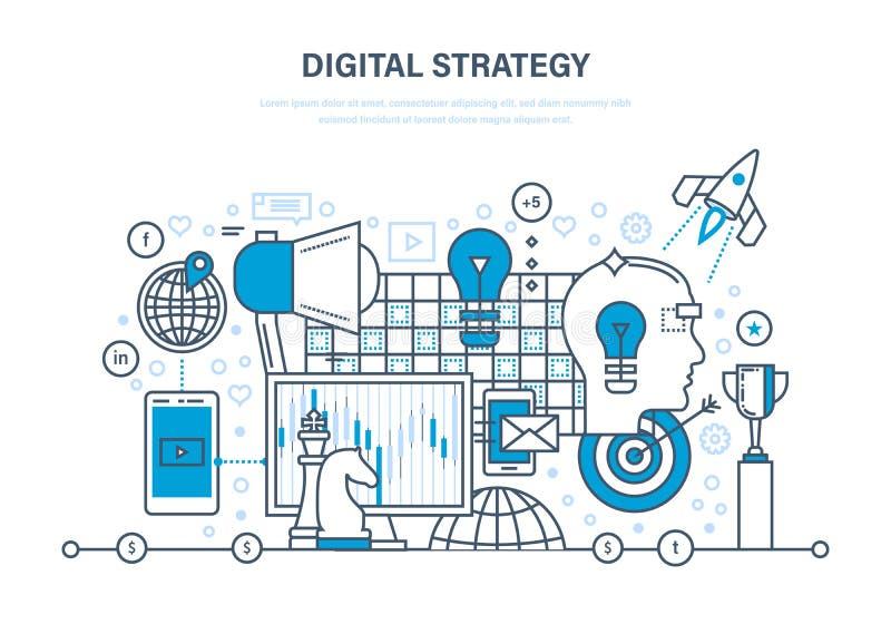 Ψηφιακή στρατηγική Ψηφιακό μάρκετινγκ, μέσα που προγραμματίζουν, σε απευθείας σύνδεση επιχείρηση και αγορά διανυσματική απεικόνιση