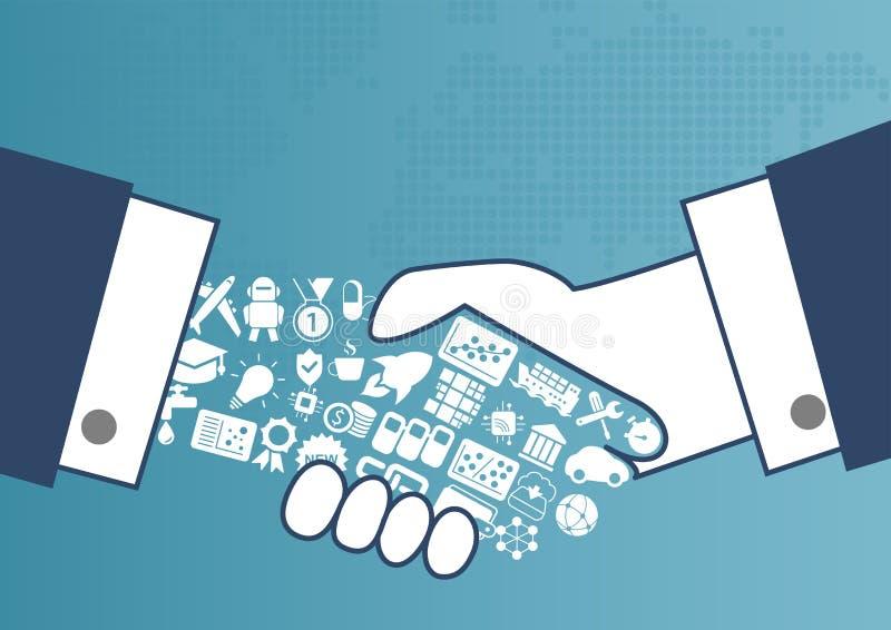Ψηφιακή σφαιρική εμπορική έννοια με την απεικόνιση της χειραψίας μεταξύ των επιχειρησιακών ατόμων ελεύθερη απεικόνιση δικαιώματος