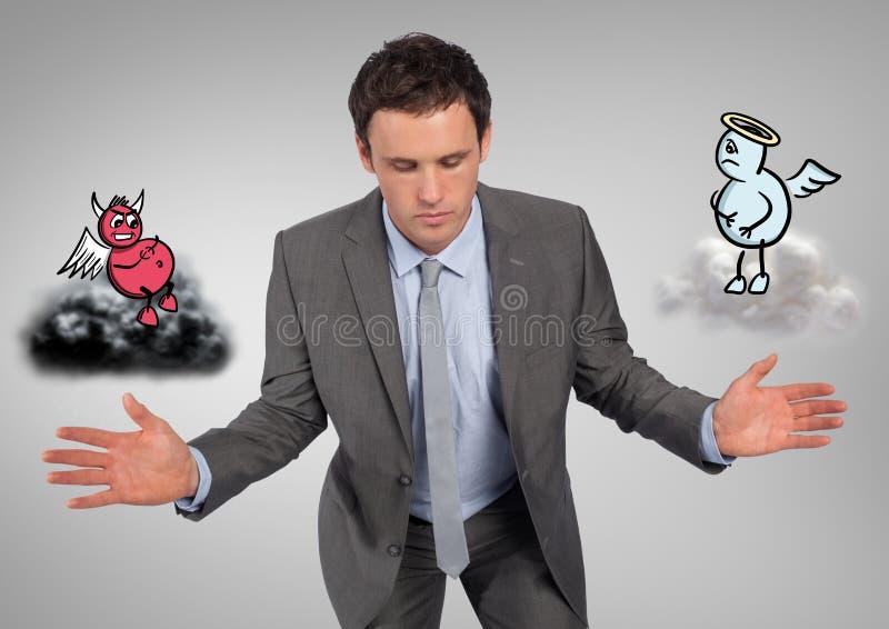Ψηφιακή σύνθετη εικόνα ενός σοβαρού επιχειρηματία με τον άγγελο και του δαίμονα ελεύθερη απεικόνιση δικαιώματος