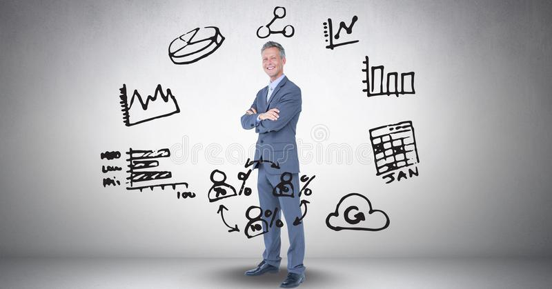 Ψηφιακή σύνθετη εικόνα του επιχειρηματία στη μέση των διάφορων εικονιδίων στο γκρίζο κλίμα ελεύθερη απεικόνιση δικαιώματος
