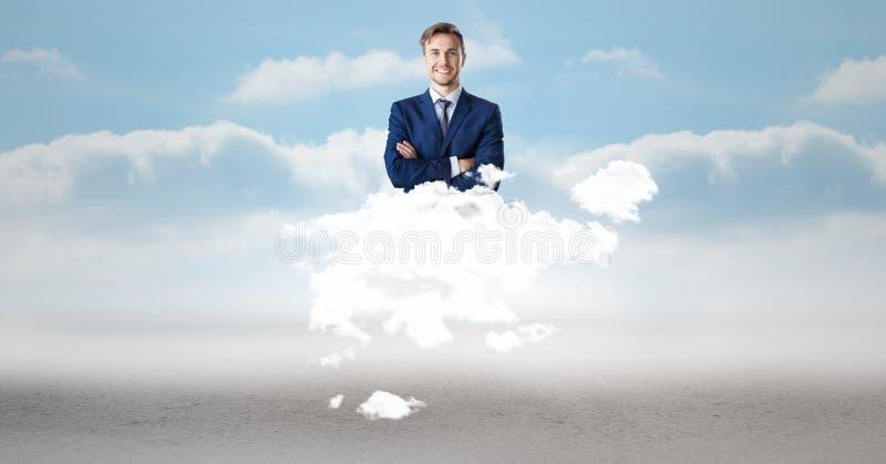 Ψηφιακή σύνθετη εικόνα του επιχειρηματία στο σύννεφο στον ουρανό στοκ φωτογραφία με δικαίωμα ελεύθερης χρήσης