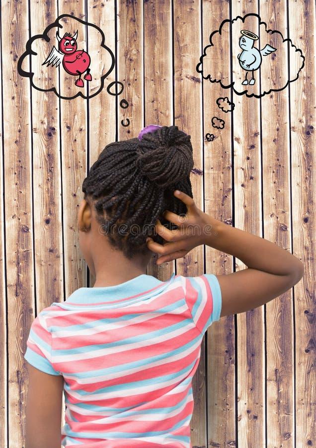 Ψηφιακή σύνθετη εικόνα του κοριτσιού που γρατσουνίζει το κεφάλι της με τον άγγελο και το δαίμονα στη φυσαλίδα λόγου ελεύθερη απεικόνιση δικαιώματος