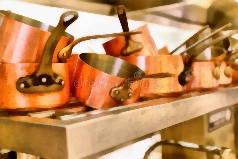 Ψηφιακή τέχνη που χρωματίζει - παλαιά δοχεία χαλκού στο εστιατόριο κουζινών στοκ εικόνες