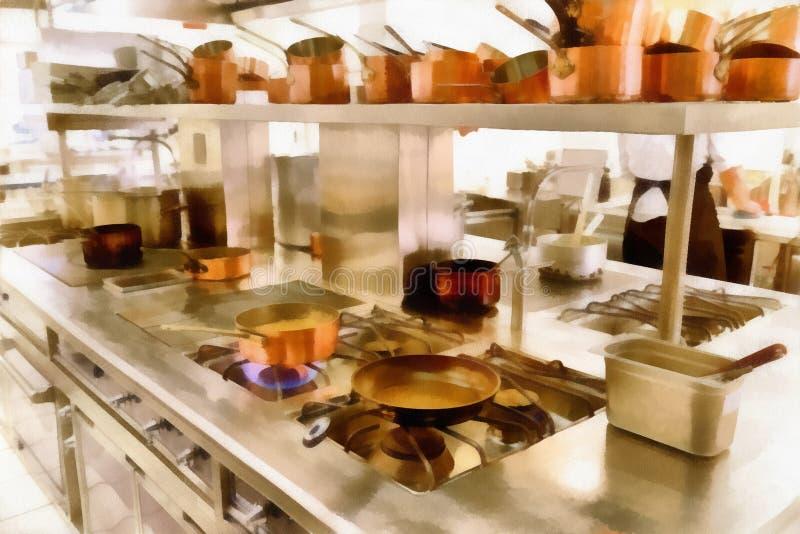 Ψηφιακή τέχνη που χρωματίζει - παλαιά δοχεία χαλκού στο εστιατόριο κουζινών στοκ εικόνα με δικαίωμα ελεύθερης χρήσης