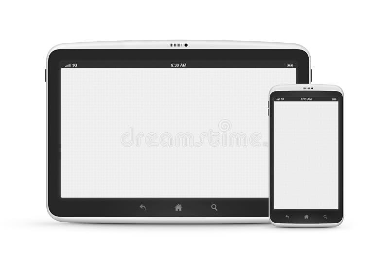 Ψηφιακή ταμπλέτα το κινητό τηλέφωνο που απομονώνεται με διανυσματική απεικόνιση