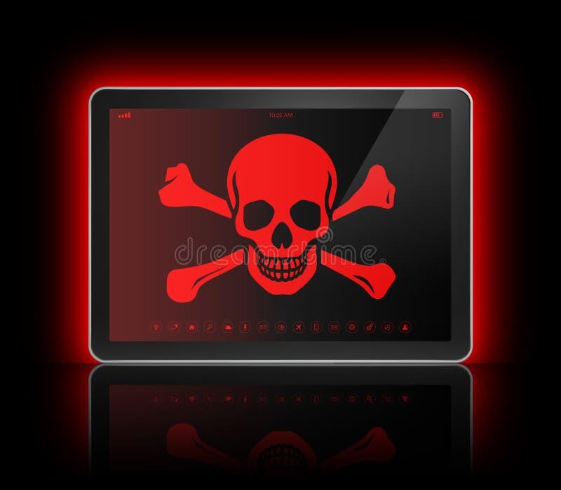 Ψηφιακή ταμπλέτα με ένα σύμβολο πειρατών στην οθόνη Έννοια χάραξης διανυσματική απεικόνιση