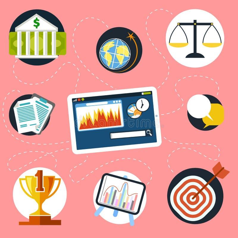 Ψηφιακή ταμπλέτα με τα εικονίδια χρηματοδότησης και ανάλυσης ελεύθερη απεικόνιση δικαιώματος
