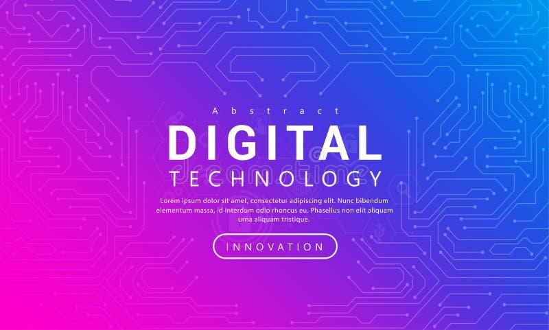 Ψηφιακή τεχνολογίας έννοια υποβάθρου εμβλημάτων ρόδινη μπλε με τα ελαφριά αποτελέσματα γραμμών τεχνολογίας, αφηρημένη τεχνολογία διανυσματική απεικόνιση