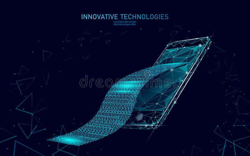 Ψηφιακή τραπεζική έννοια Ιστού λογαριασμών τρισδιάστατη Polygonal σημείου smartphone πληρωμής εισιτηρίων αγορών γραμμών σε απευθε ελεύθερη απεικόνιση δικαιώματος