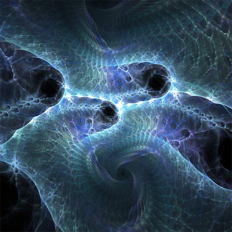 Ψηφιακή fractal υπολογιστών τέχνη, φανταστικές αφηρημένες μορφές, μπλε νεφέλωμα σφουγγαριών ελεύθερη απεικόνιση δικαιώματος