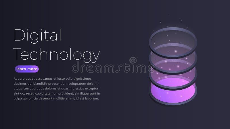 Ψηφιακή isometric έννοια τεχνολογίας Απεικόνιση του φουτουριστικού datacenter, μεγάλα στοιχεία - επεξεργασία, φιλοξενία κεντρικών διανυσματική απεικόνιση